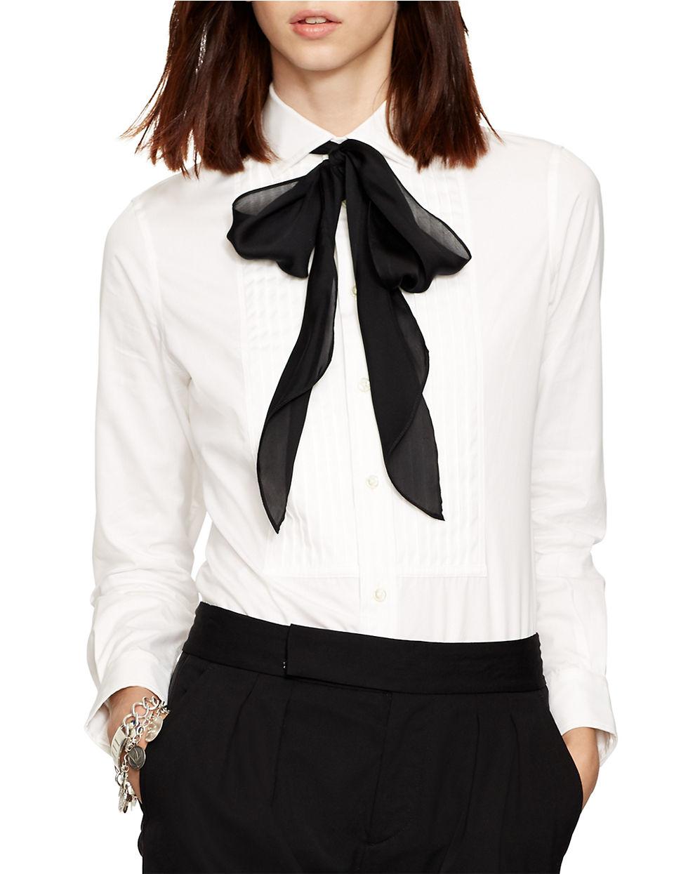 3ddb869ec12a4c Polo Ralph Lauren Cotton Poplin Tuxedo Shirt in White - Lyst