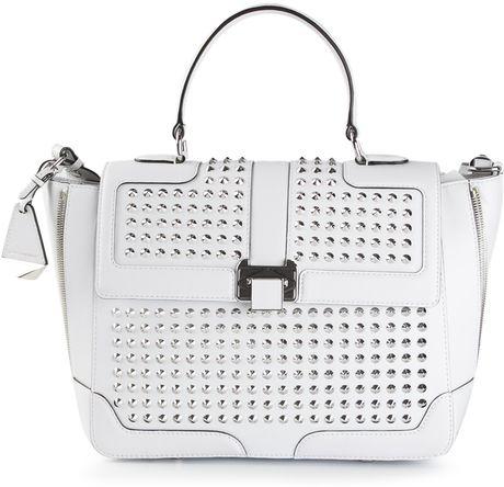 White Studded Shoulder Bag 107