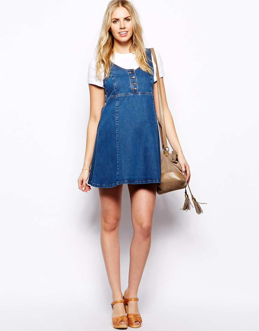 Asos swing dress with pinafore in blue lyst gallery womens swing dresses ombrellifo Choice Image
