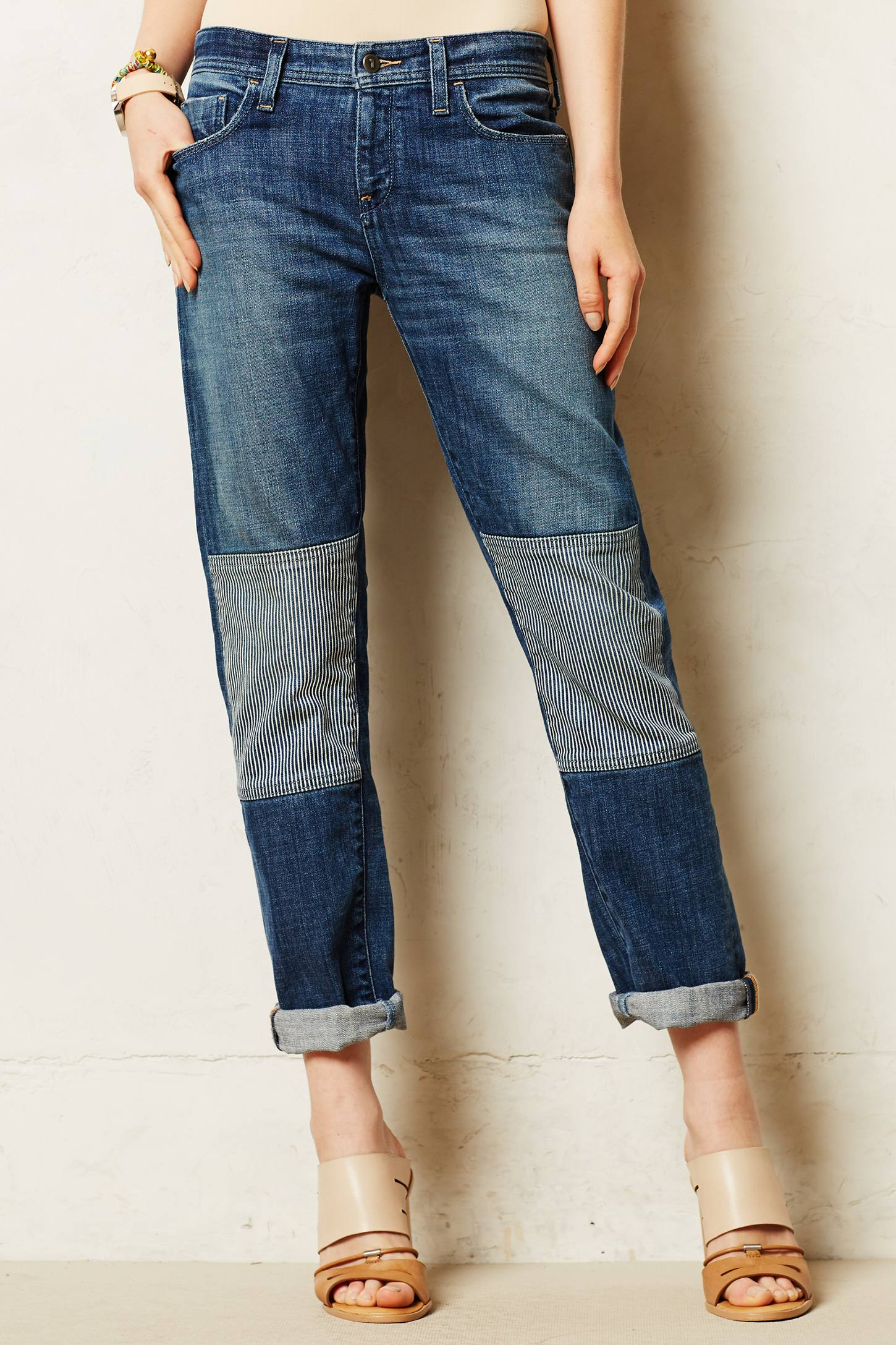 Pilcro Hyphen Patched Jeans in Blue | Lyst
