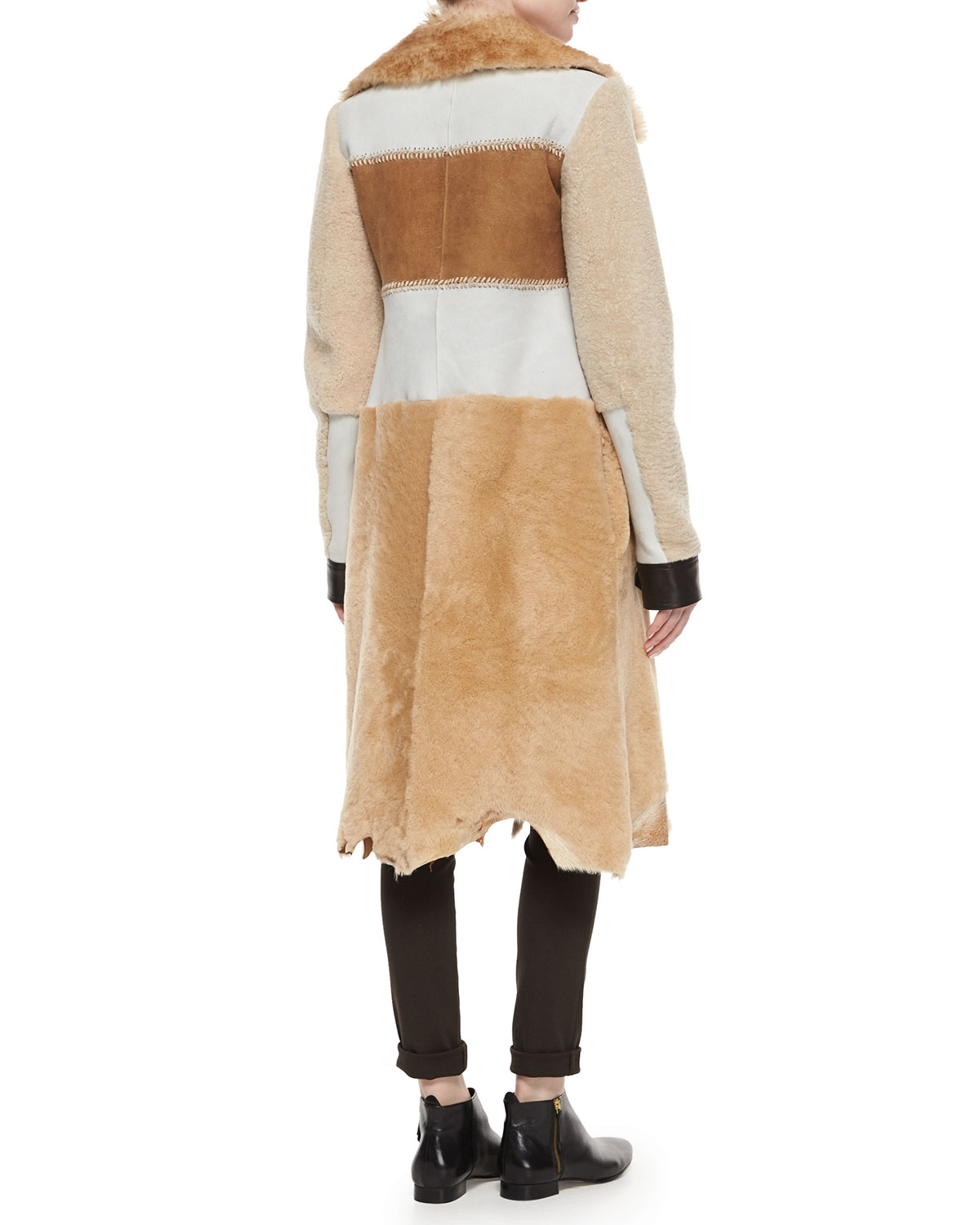 Calvin klein Paneled Shearling Fur Long Coat in Beige ...