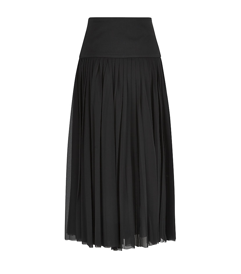 donna karan new york pleated silk midi skirt in black lyst