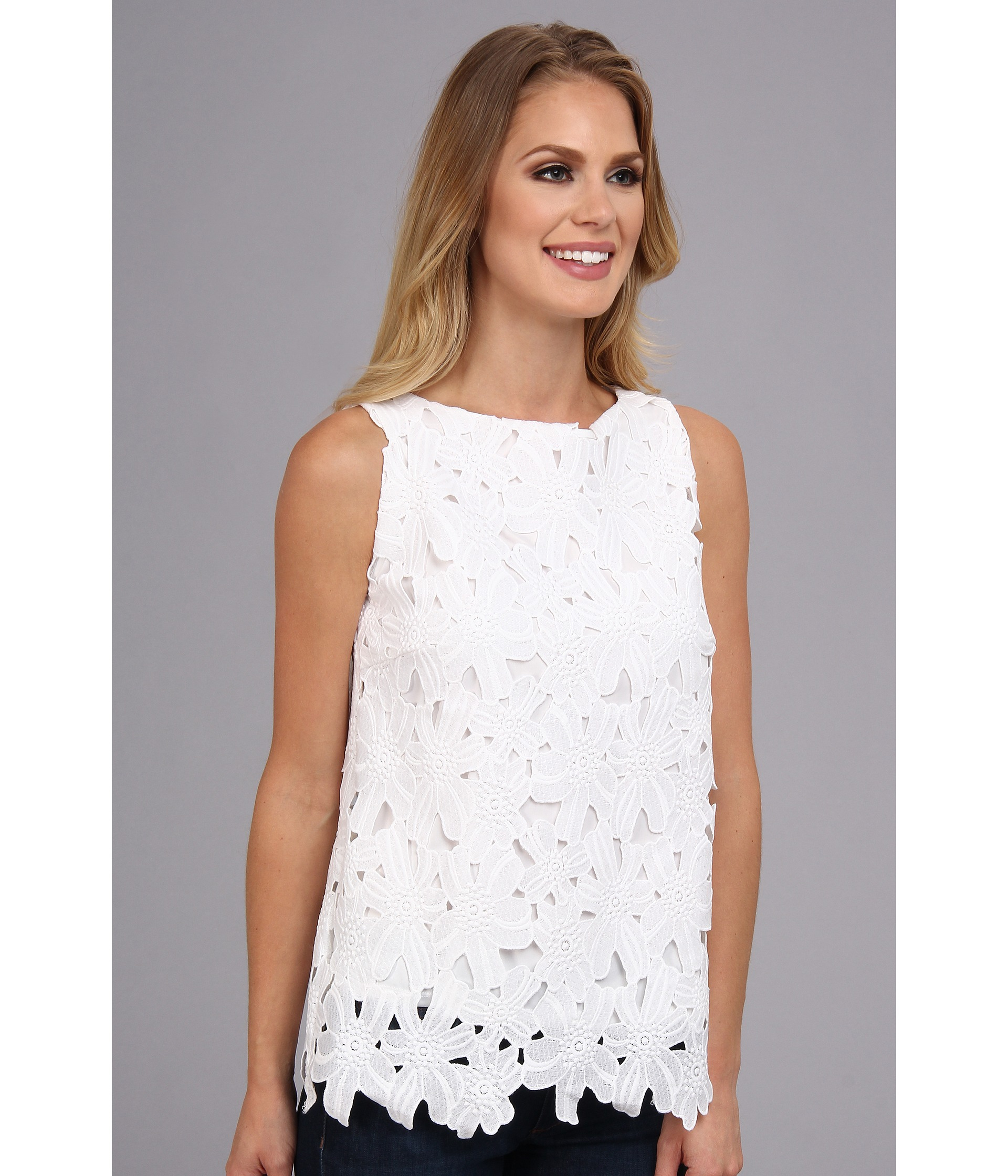 ef439a075 Calvin Klein Shifli Embroidered Top in White - Lyst