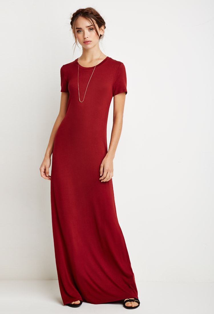 Forever 21 Maxi T-shirt Dress in Red  Lyst