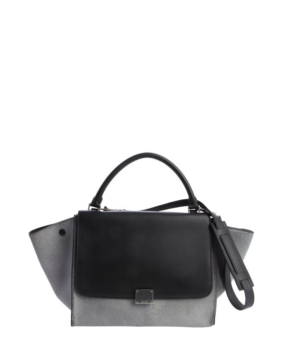 C¨¦line Grey Pony Hair and Black Leather Trapeze Bag in Black (grey. Celine  White Red Black Tricolor Pony Hair Small Trapeze Bag  6db4ab76b4304