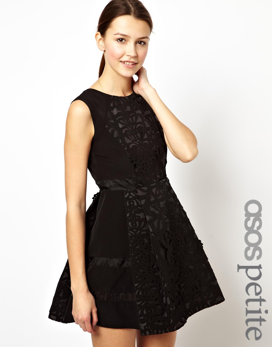 Lyst - ASOS Exclusive Skater Dress with Laser Cut Detail in Black 5065eda91