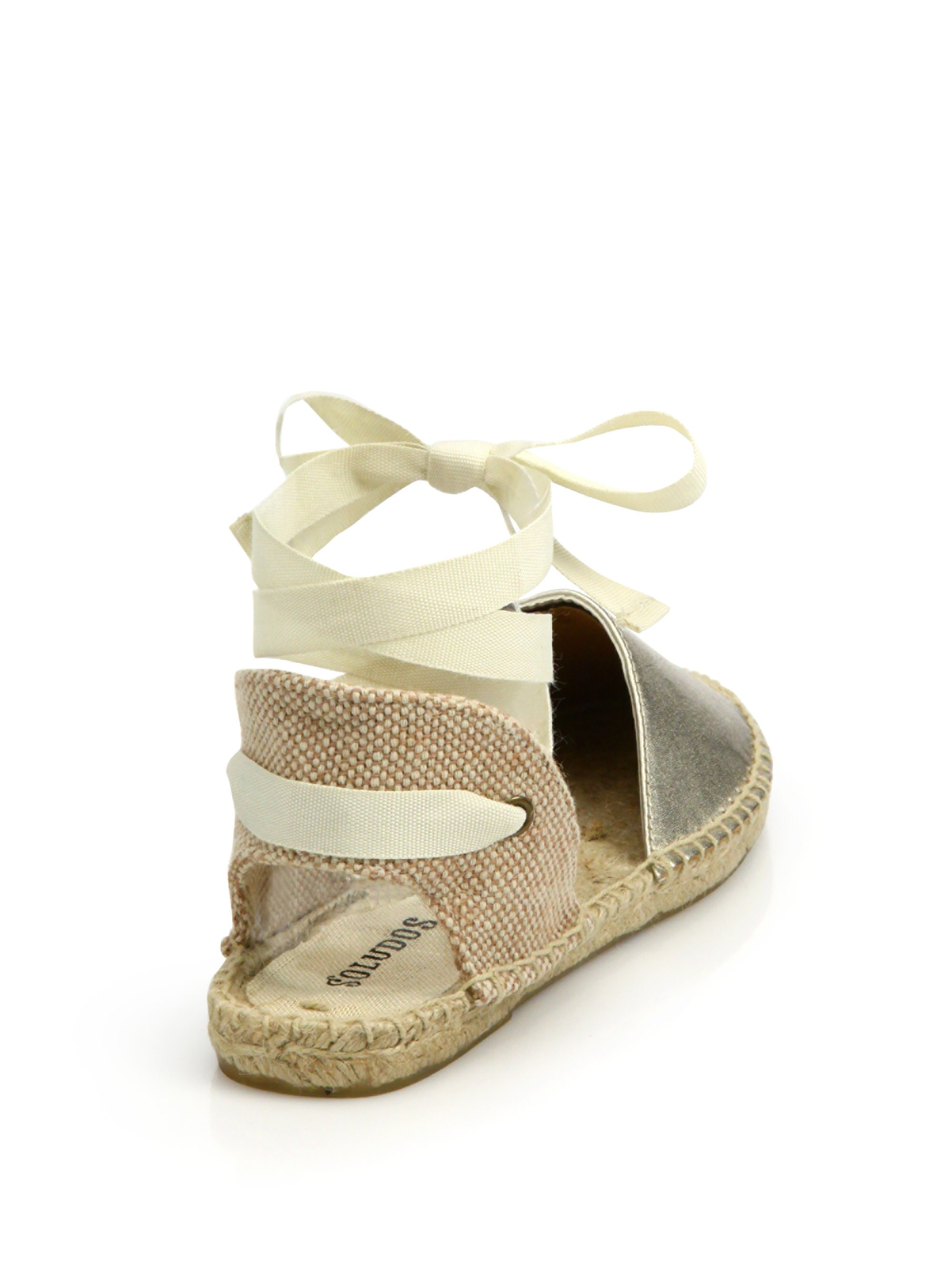 6633d7ad0e1d7 Lyst - Soludos Classic Platinum Leather Espadrille Sandals in White