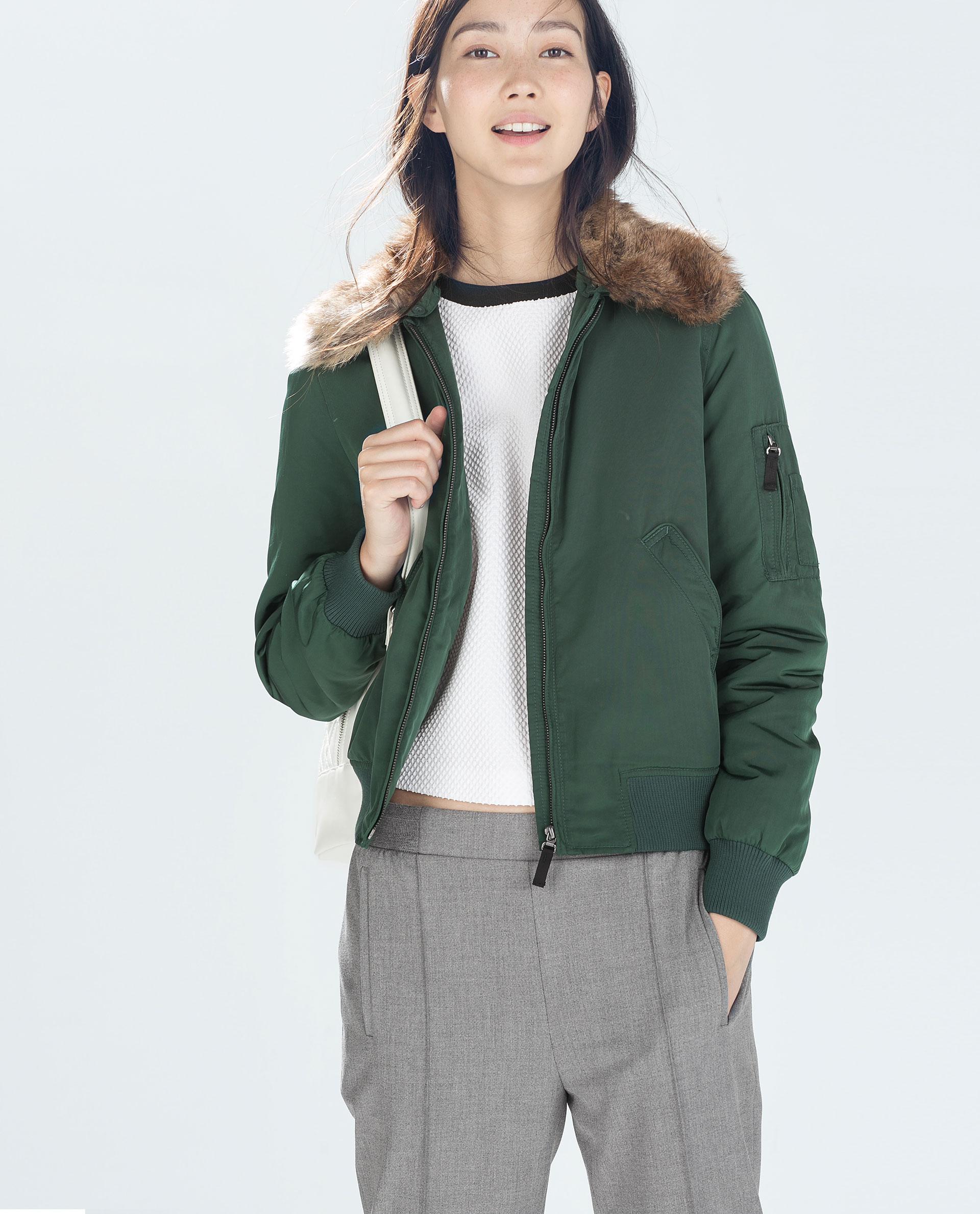 Zara Bomber Jacket In Green | Lyst