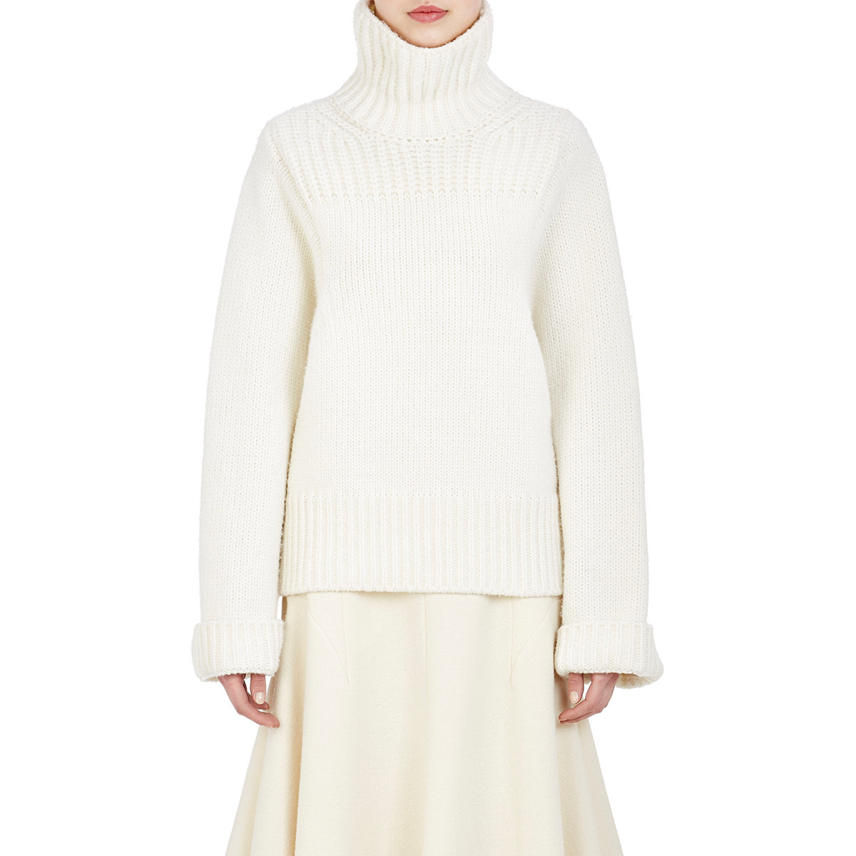 White Turtleneck Knit Sweater 24