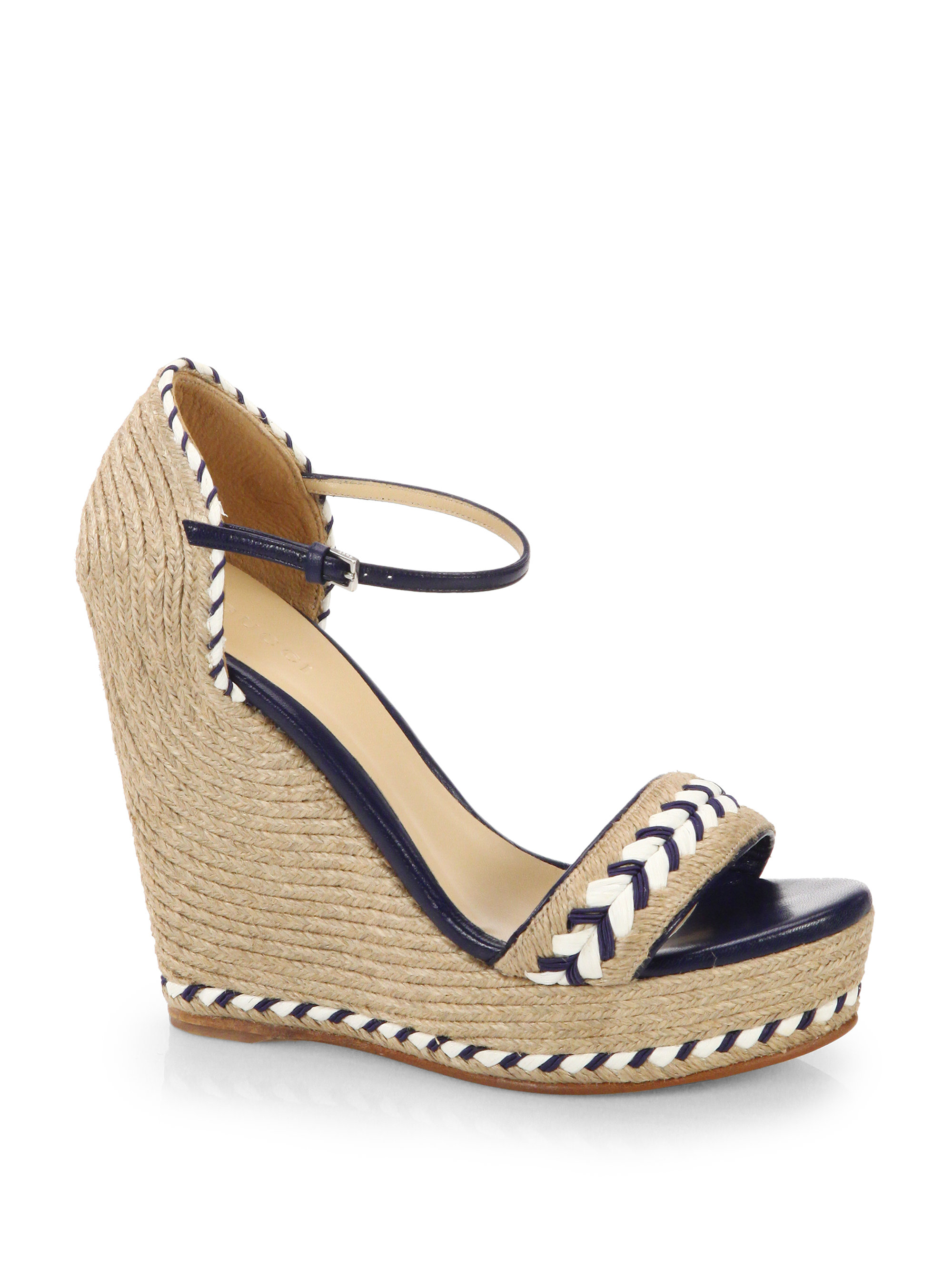 Gucci Tiffany Espadrille Wedge Sandals In Brown Lyst