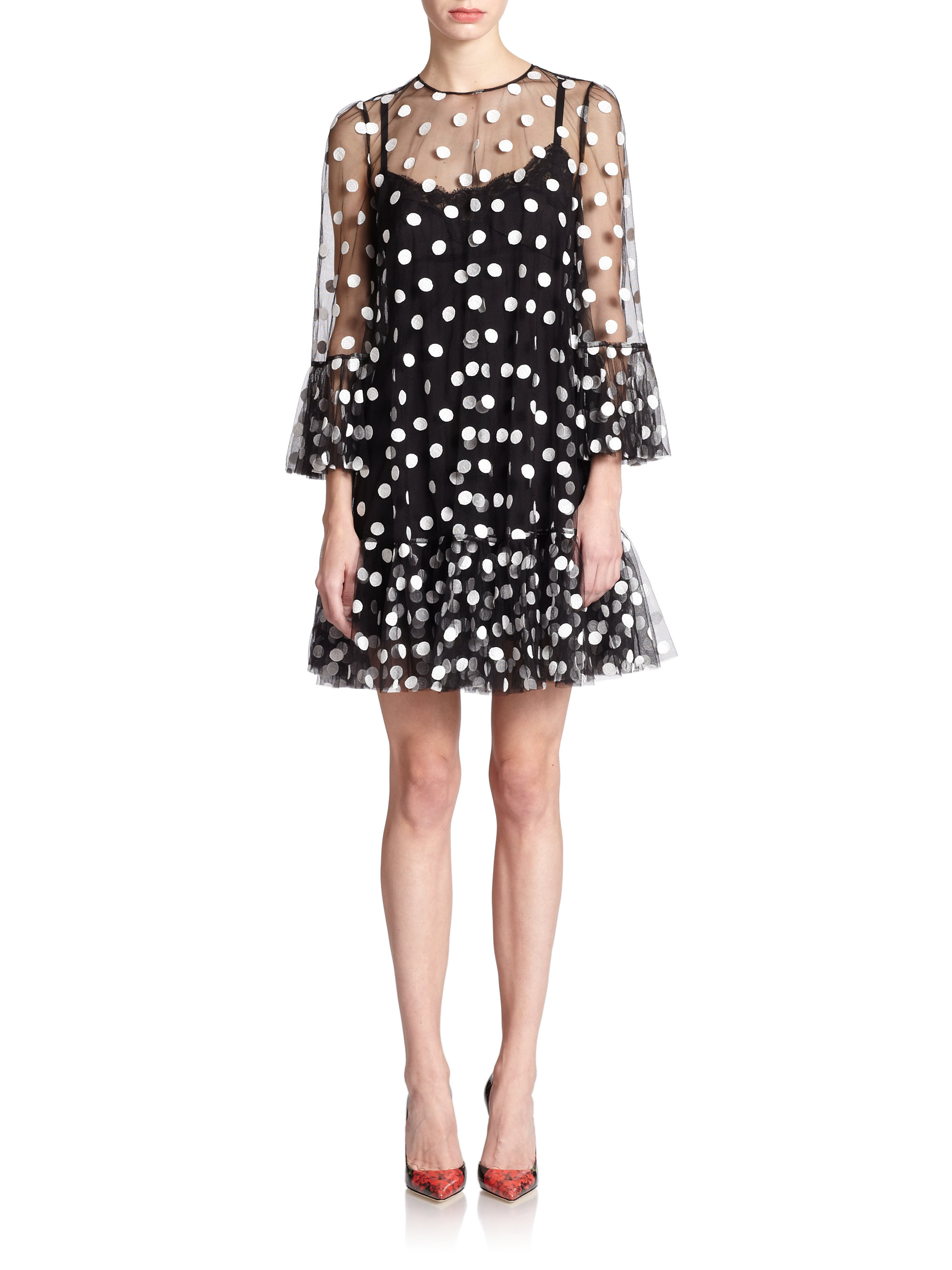 Lyst Dolce & Gabbana Tulle Polka Dot Babydoll Dress in Black