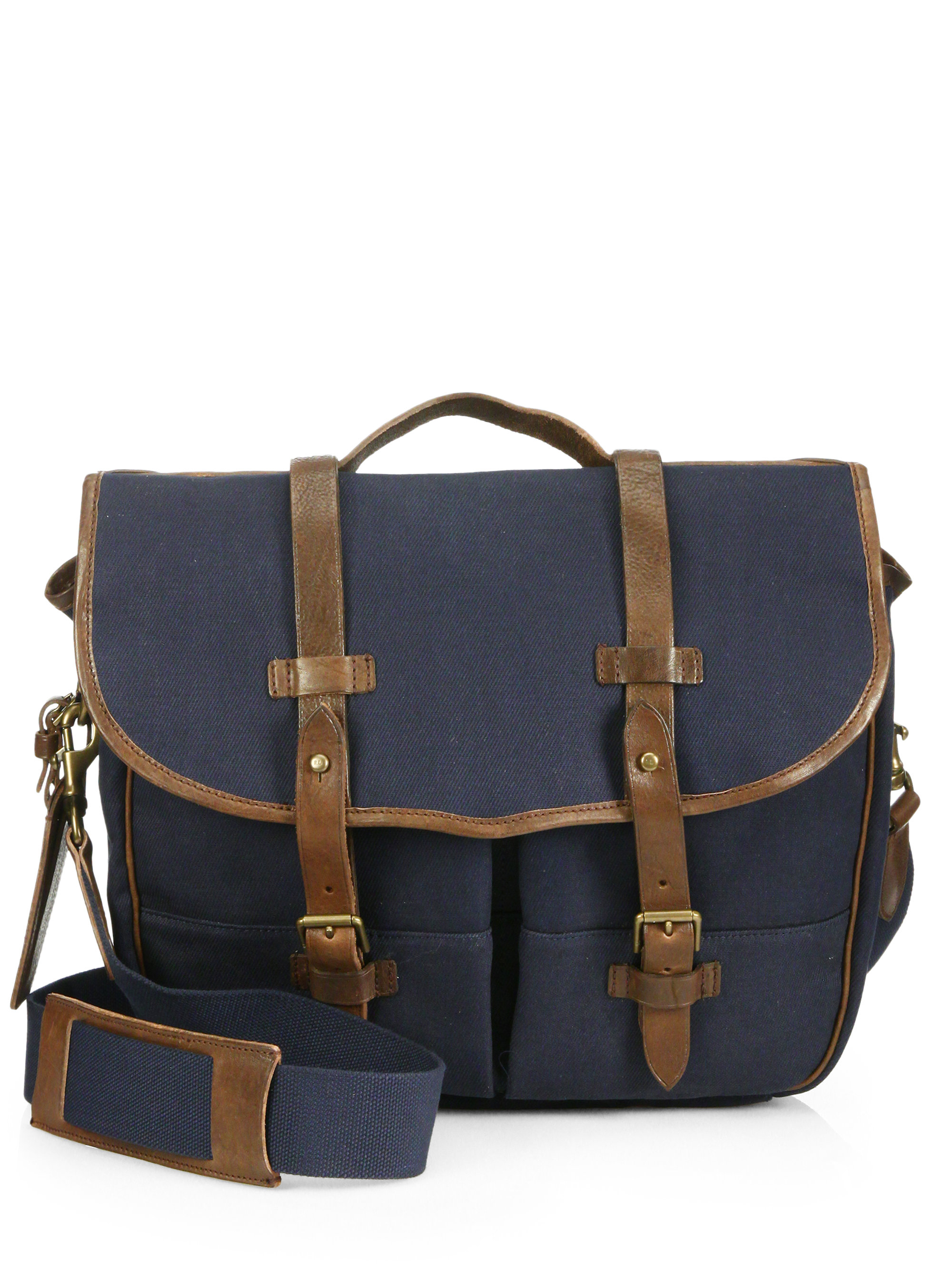 Lyst - Polo Ralph Lauren Waxed Twill Messenger Bag in Blue for Men 3ccb924326