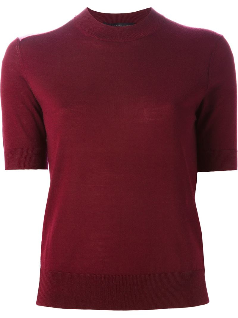 marc by marc jacobs shortsleeved contrast sweater in red lyst. Black Bedroom Furniture Sets. Home Design Ideas