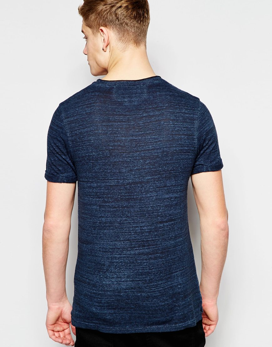 lyst jack jones premium knitted t shirt with raw edge. Black Bedroom Furniture Sets. Home Design Ideas