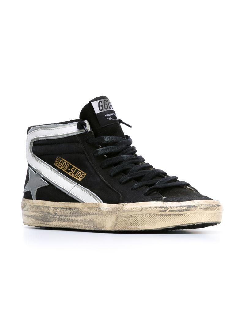Golden Goose Deluxe Brand Slide Hi Top Sneakers In Black
