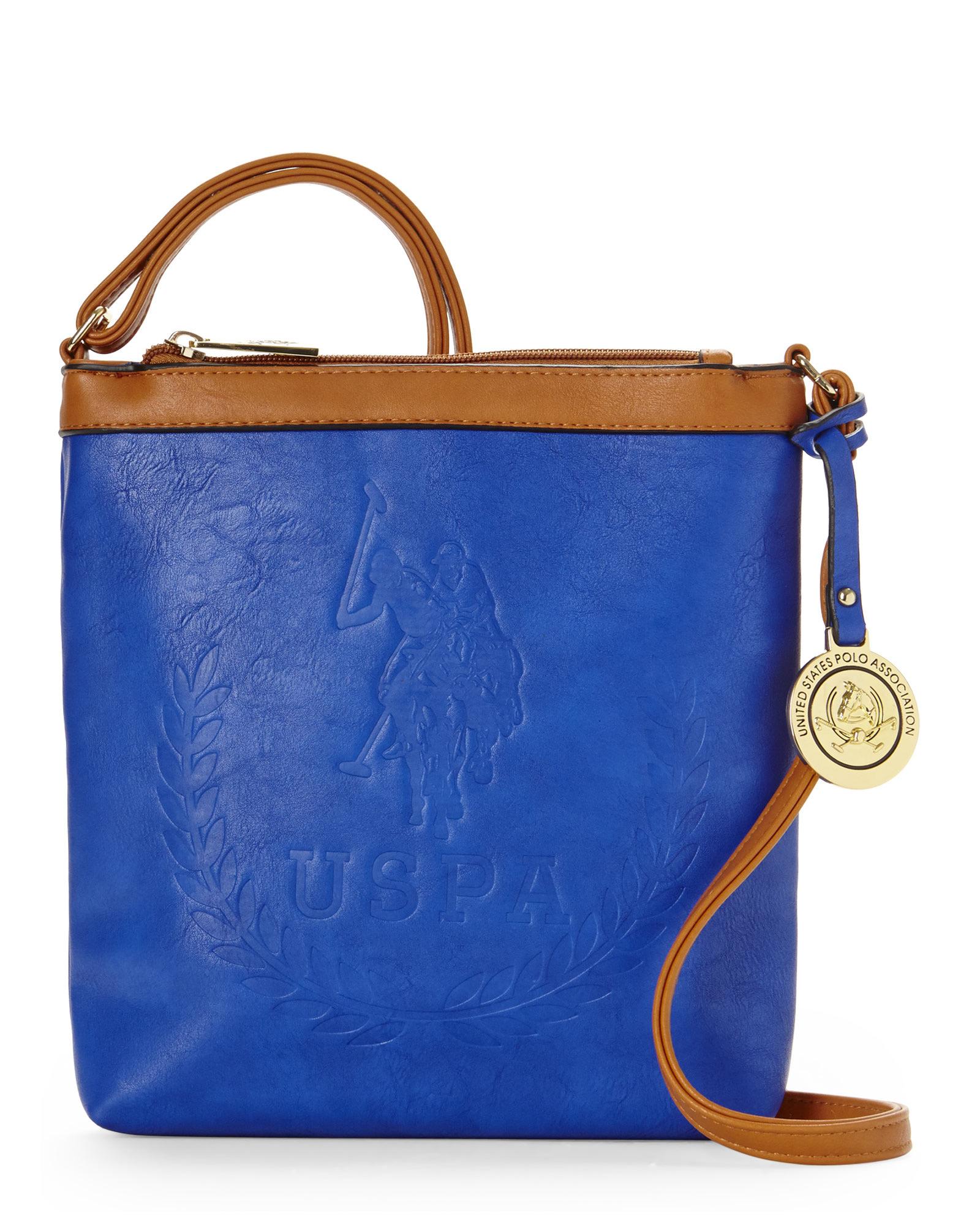 93b5d20b6502 Lyst - U.S. POLO ASSN. Cobalt   Cognac Embossed Billy Crossbody in Blue