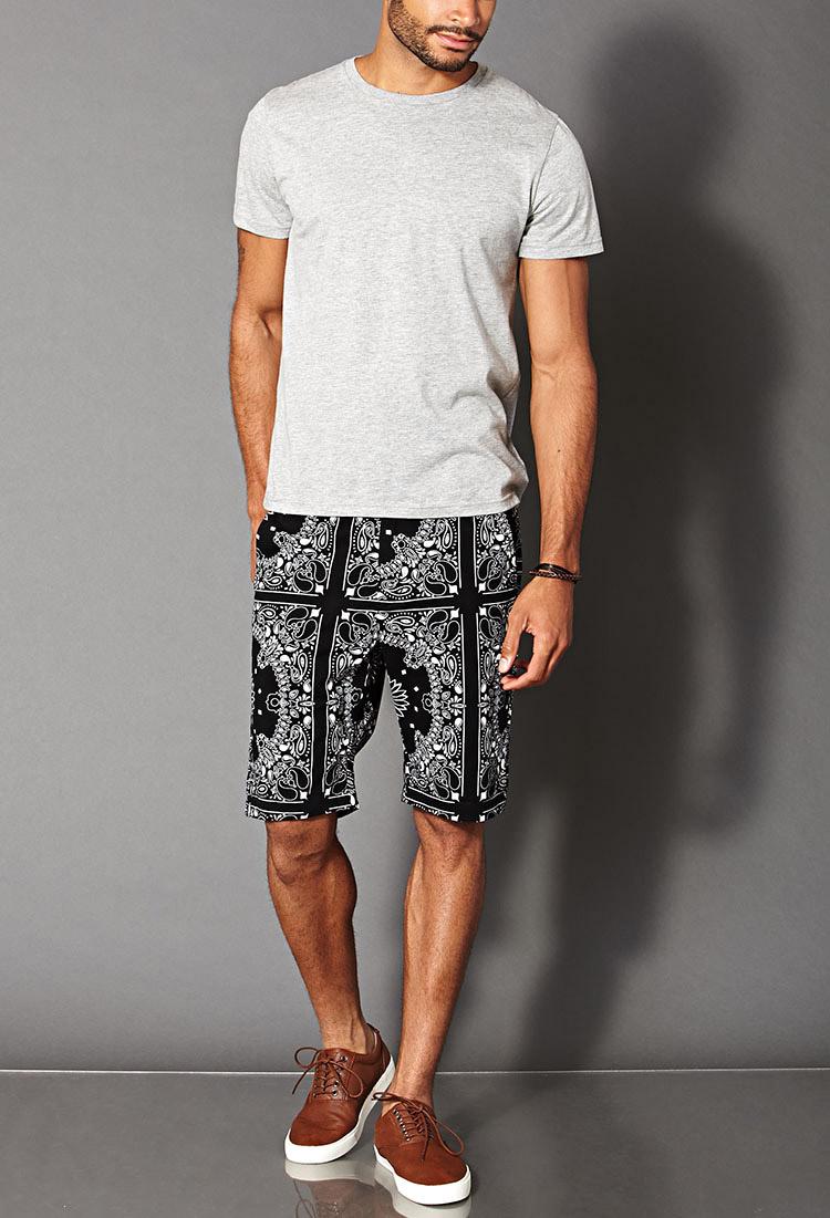 Lyst - Forever 21 Bandana Print Shorts in Black for Men