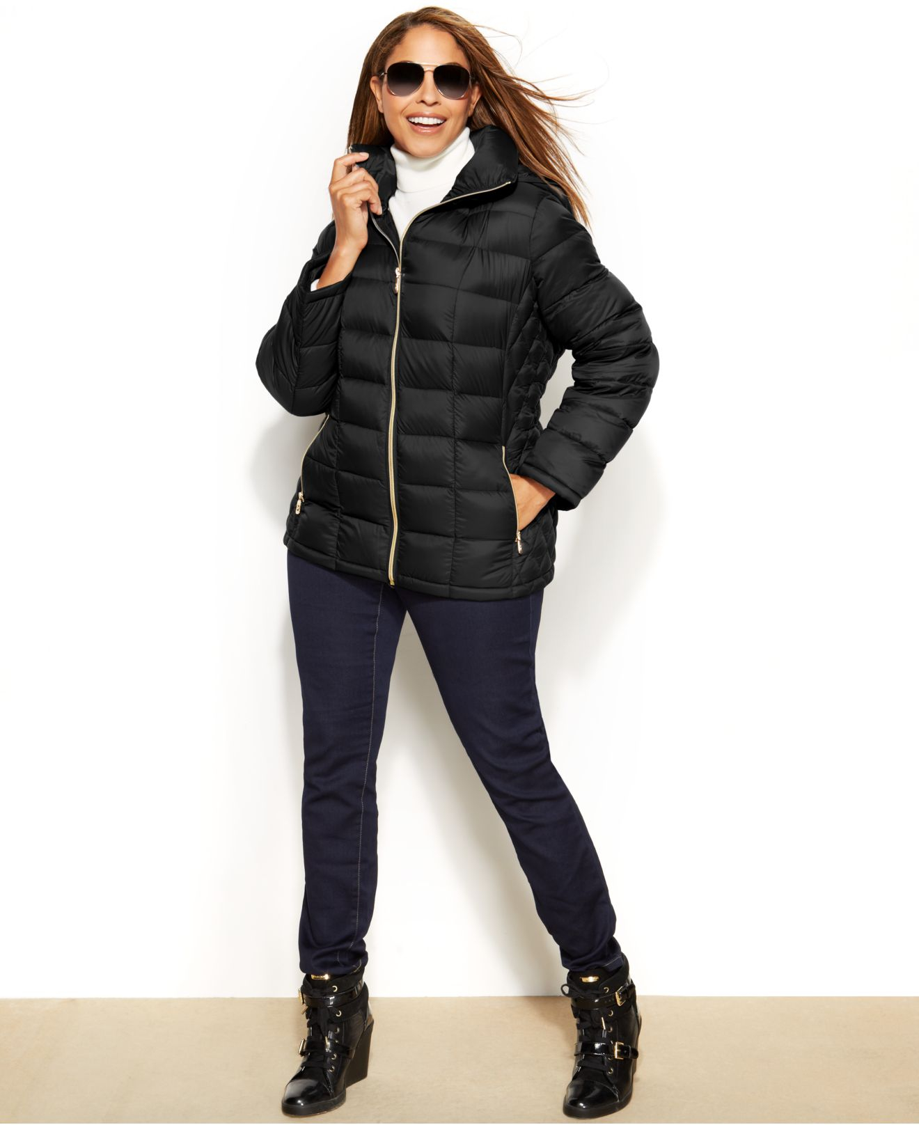 604505dcf Michael Kors - Black Michael Plus Size Hooded Quilted Down Packable Puffer  Coat - Lyst