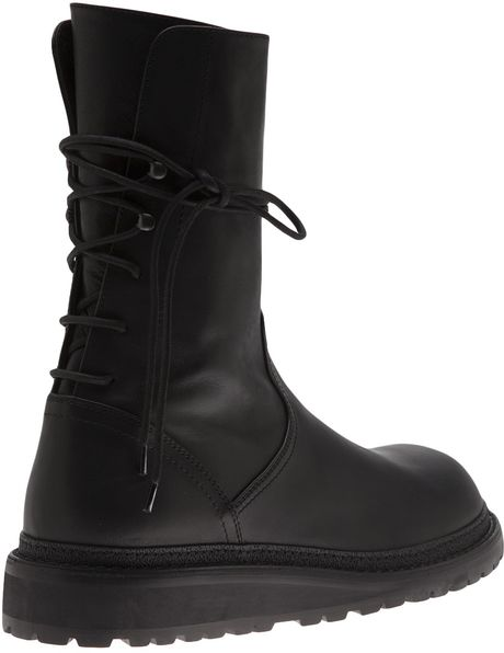 Ann Demeulemeester Back Lace Up Boot In Black For Men Lyst