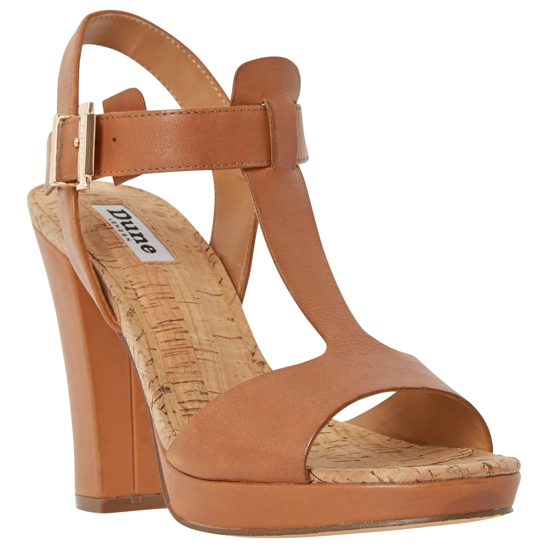 Dune Ismin T-bar Block Heeled Sandals in Brown - Lyst