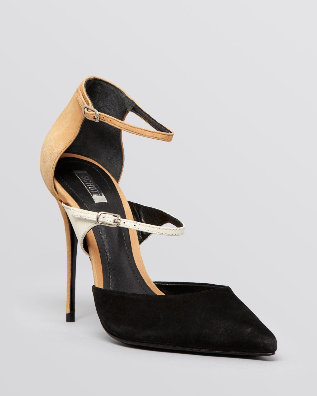 528fc022c61 Lyst - Schutz Pointed Toe Ankle Strap Pumps - Quirada High Heel in Black
