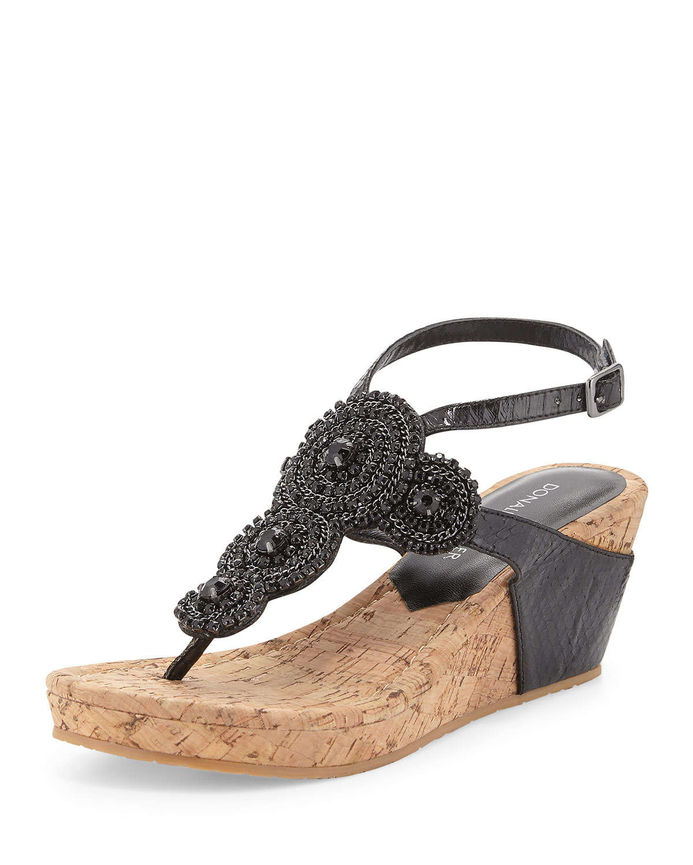Lyst Donald J Pliner Geegi Snakeskin Wedge Sandal In Black