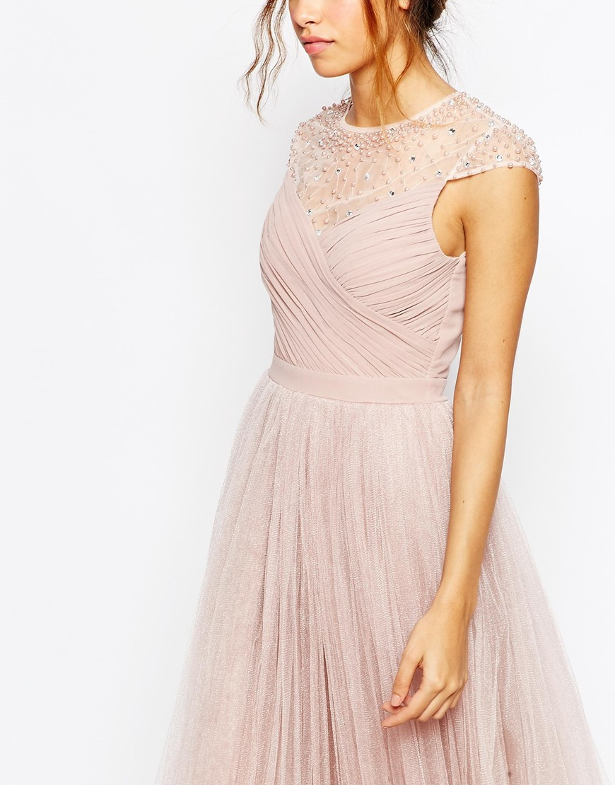 Little Mistress Tulle Maxi Prom Dress With Embellished