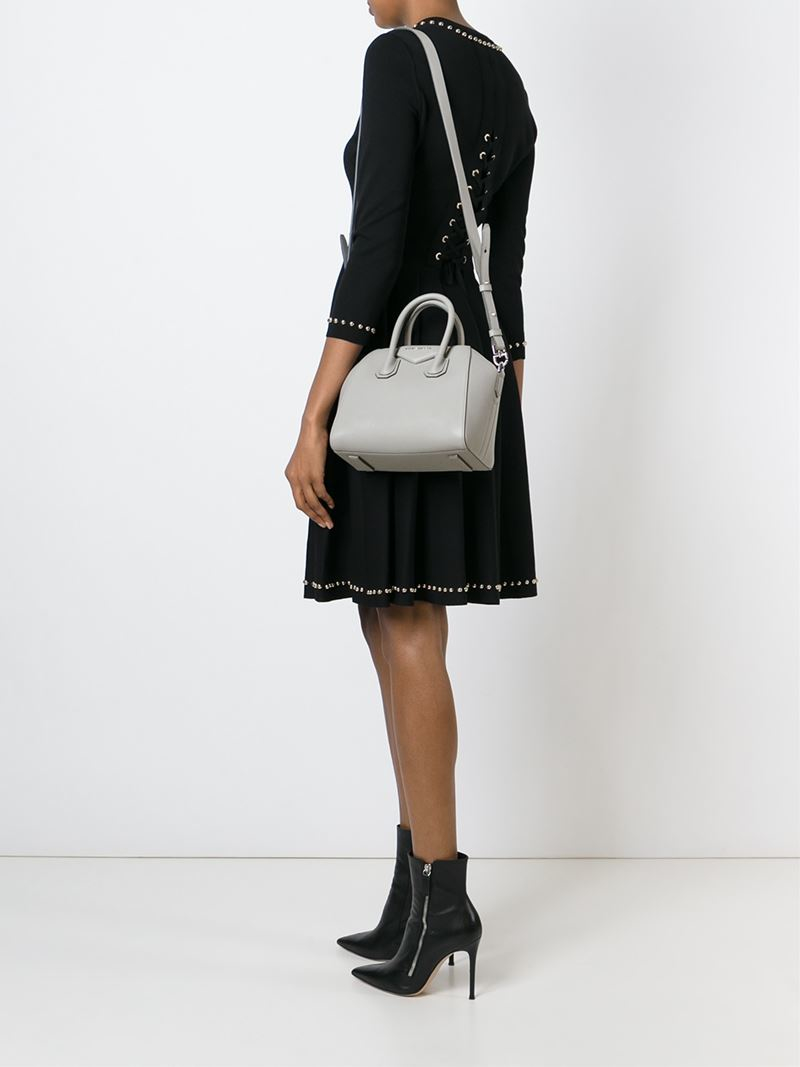 Mi Ni Clips: Givenchy Mini Antigona Goatskin Tote In Gray (grey)