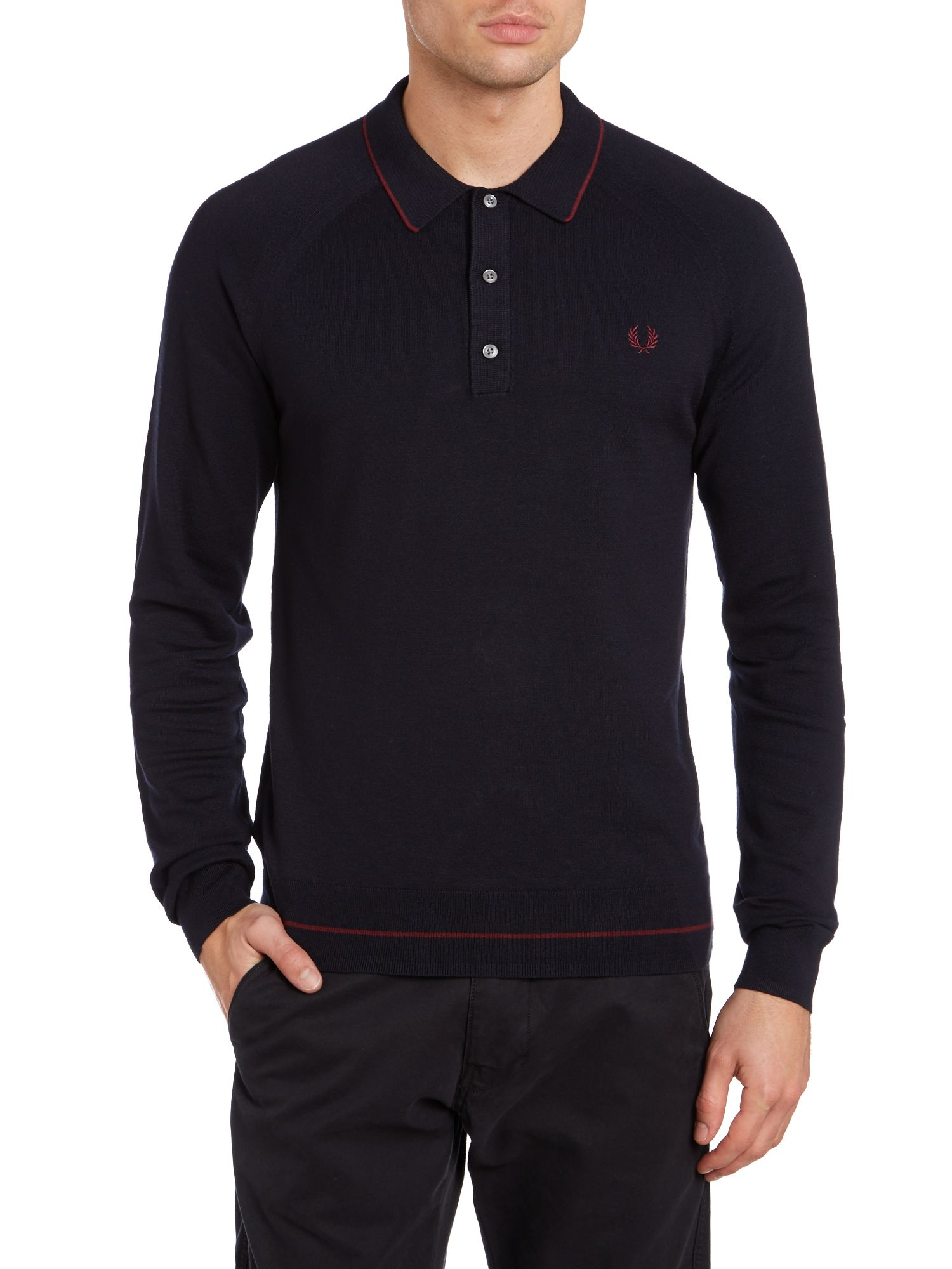 lyst fred perry raglan knitted tipped long sleeve polo. Black Bedroom Furniture Sets. Home Design Ideas