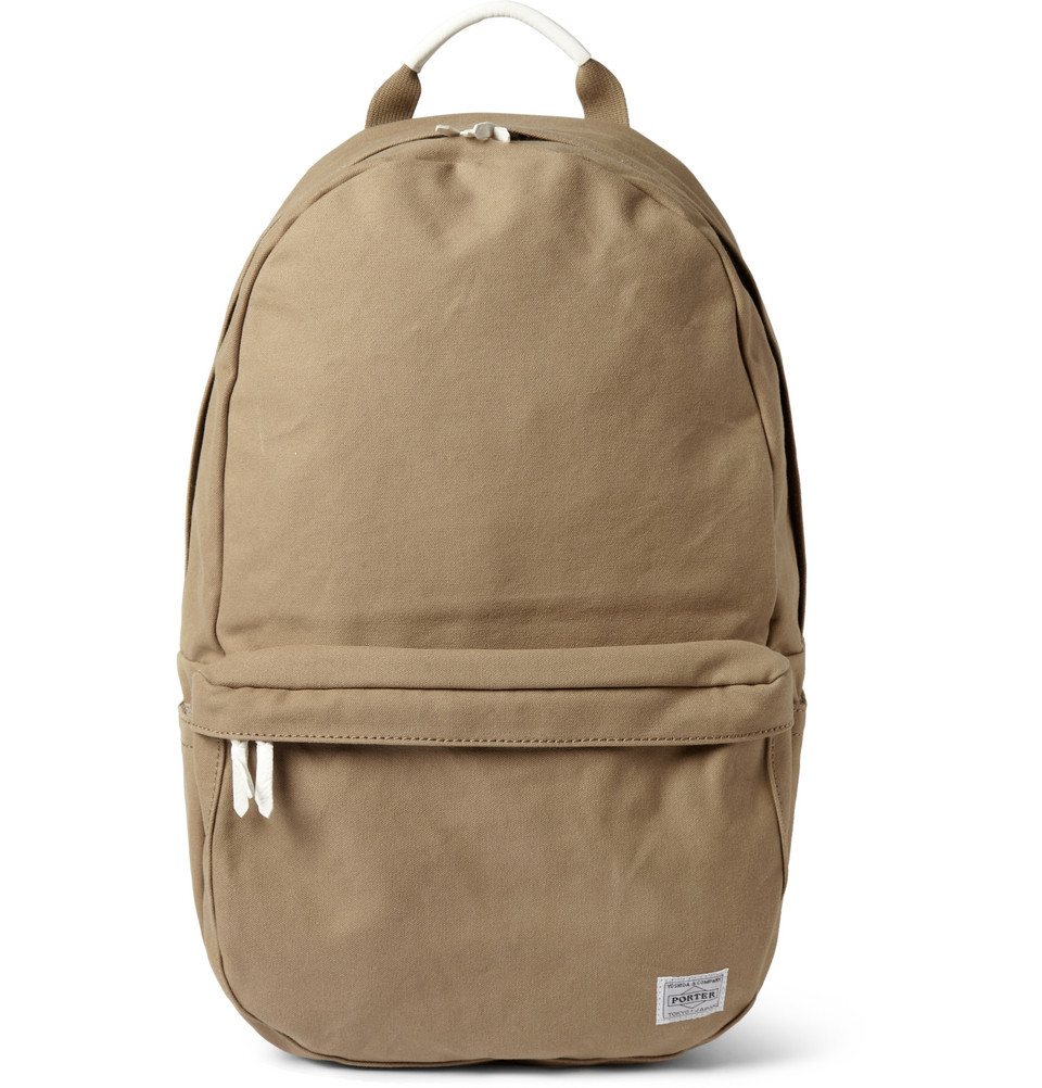 Lyst - Porter Beat Leather-Trimmed Cotton-Canvas Backpack in ...