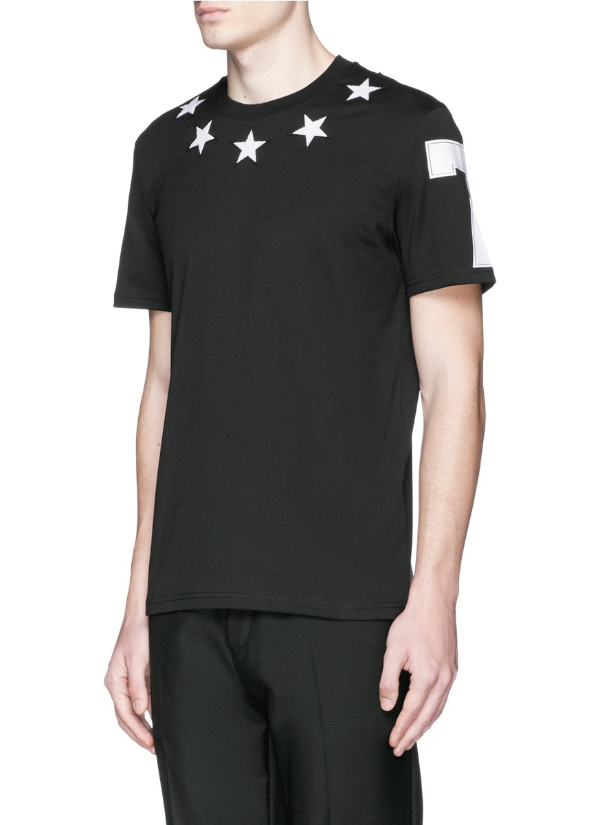 Givenchy Star Embroidery Cotton T Shirt In Black For Men