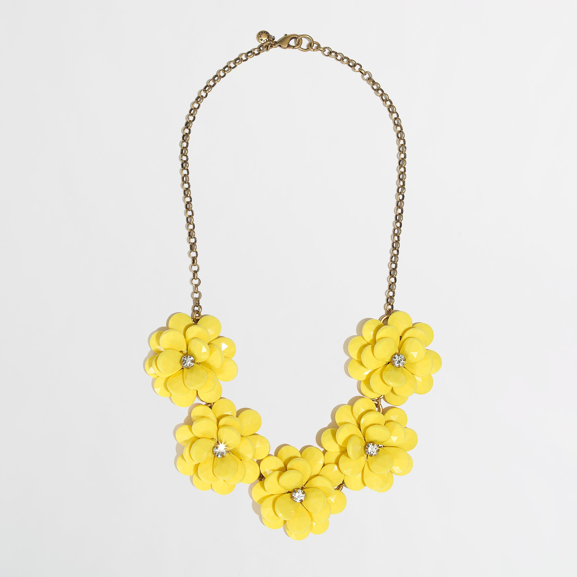 Lyst jew factory crystal floral burst necklace in yellow gallery mightylinksfo