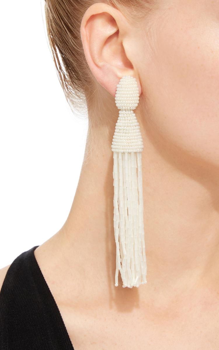 Oscar De La Renta Peacock Long Beaded Tassel Earrings ogssUPip