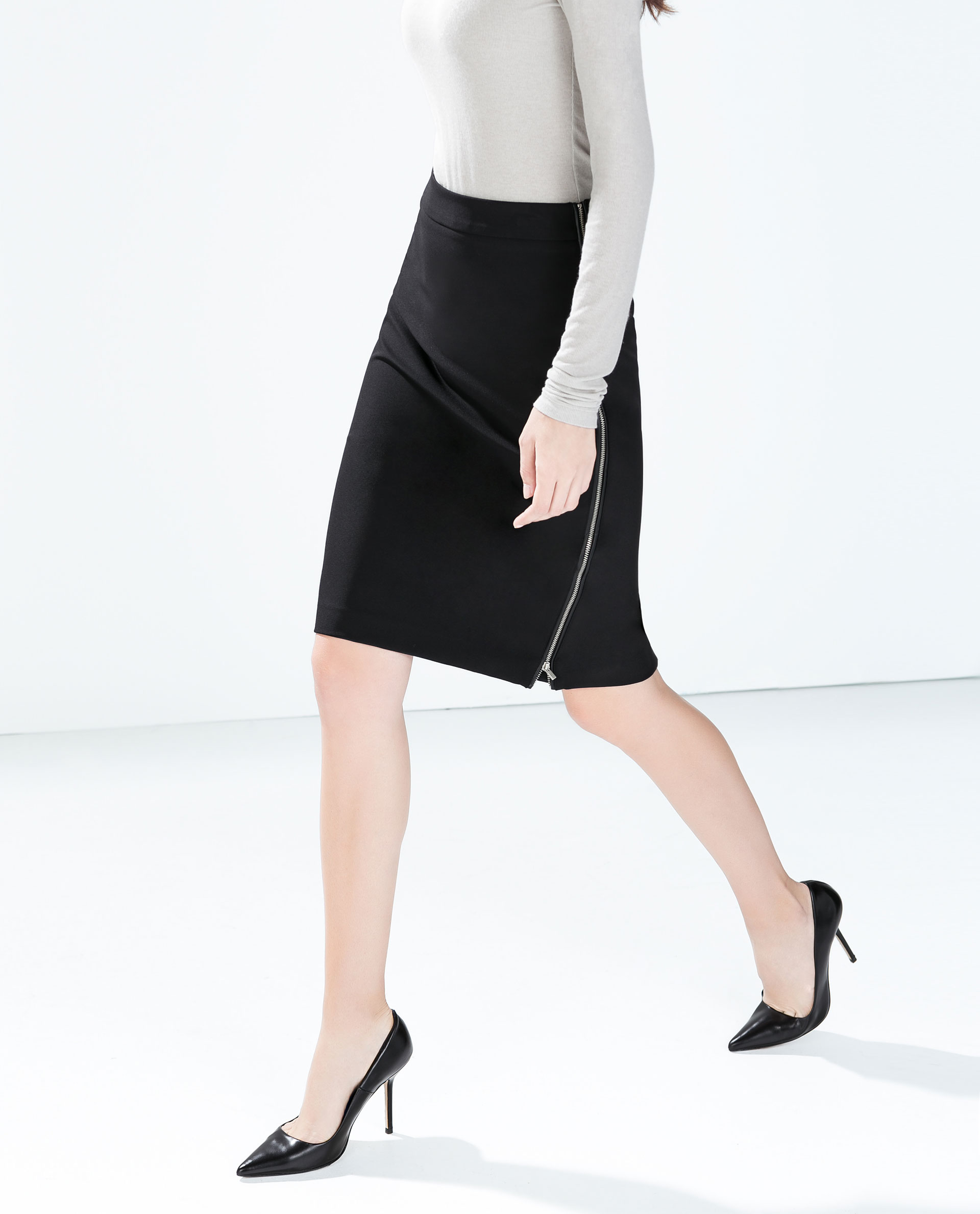 zara pencil skirt with side zips in black lyst
