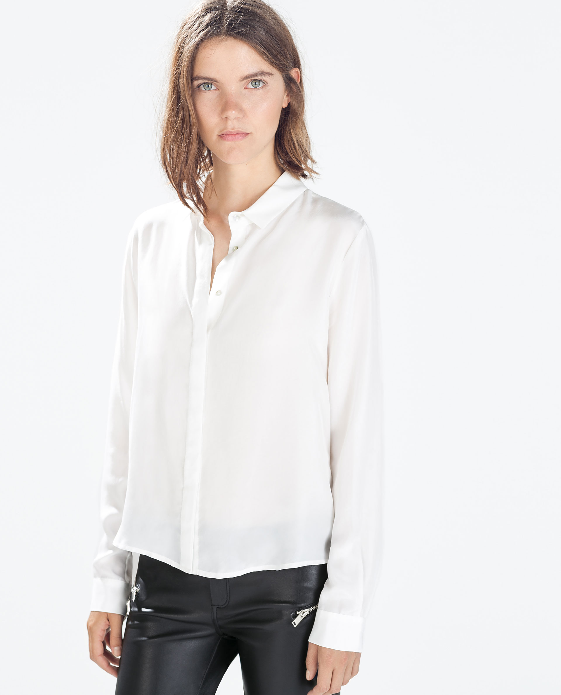 Women'S White Blouse Collar Back Button 59