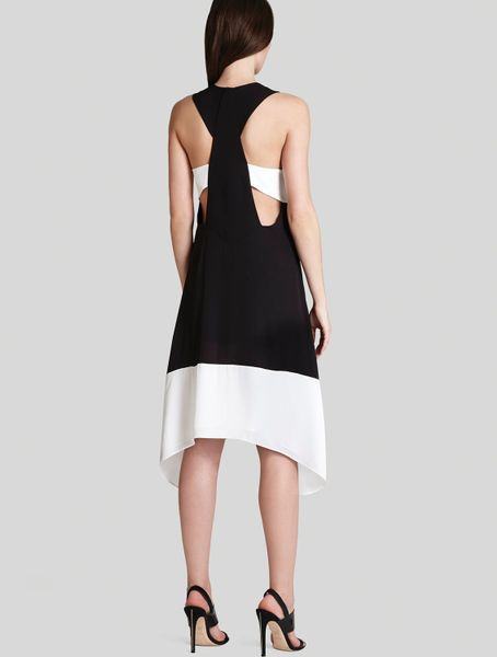 Bcbgmaxazria dress kylie color block in black black combo lyst