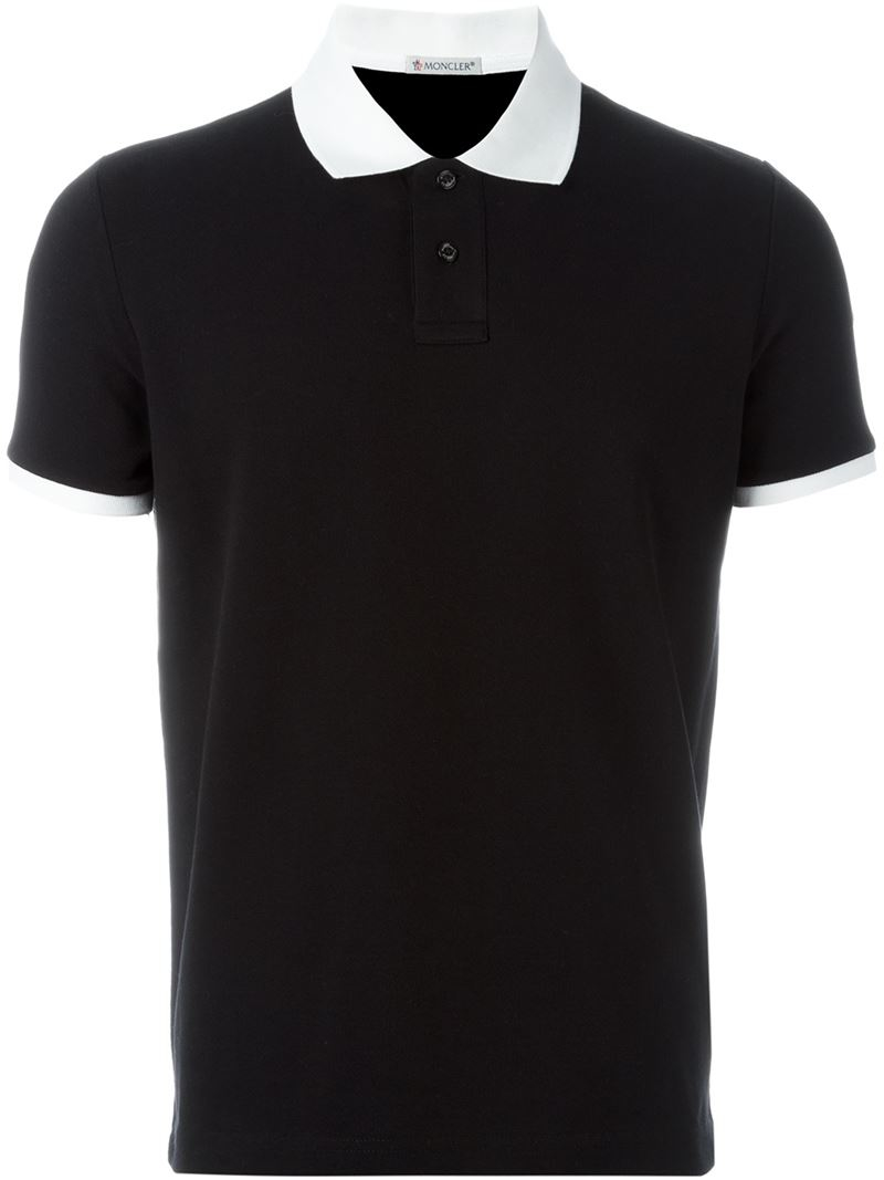 moncler polo black and white