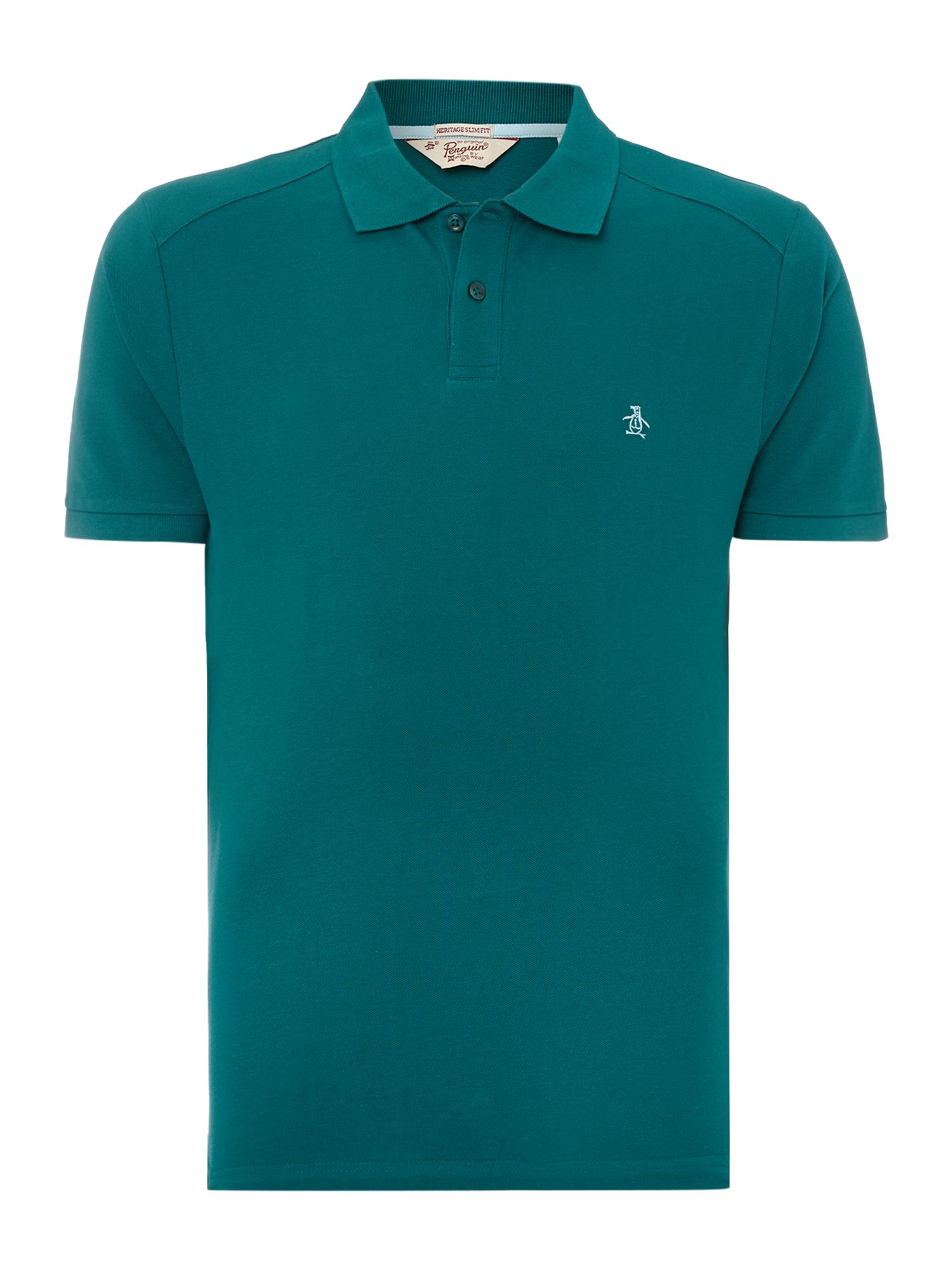 Original penguin slim fit daddy polo shirt in teal for men for Mens teal polo shirt