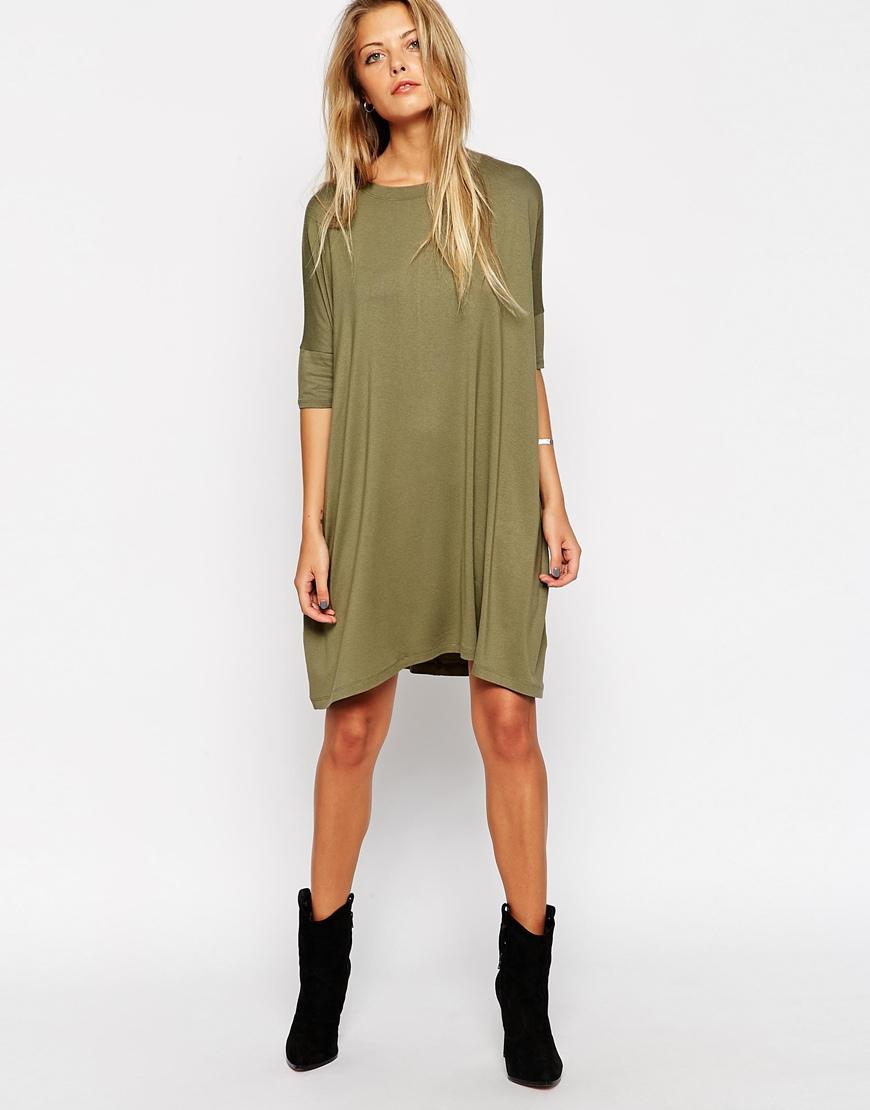 a139876e5d8 ASOS The T-shirt Dress in Green - Lyst