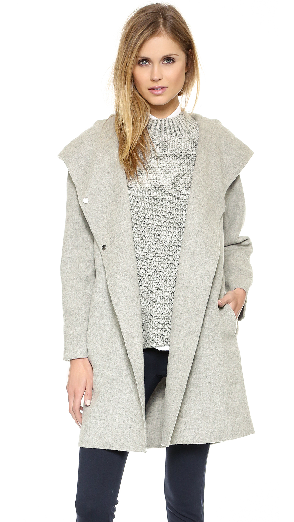 Lyst Vince Hooded Coat Coastal In Gray