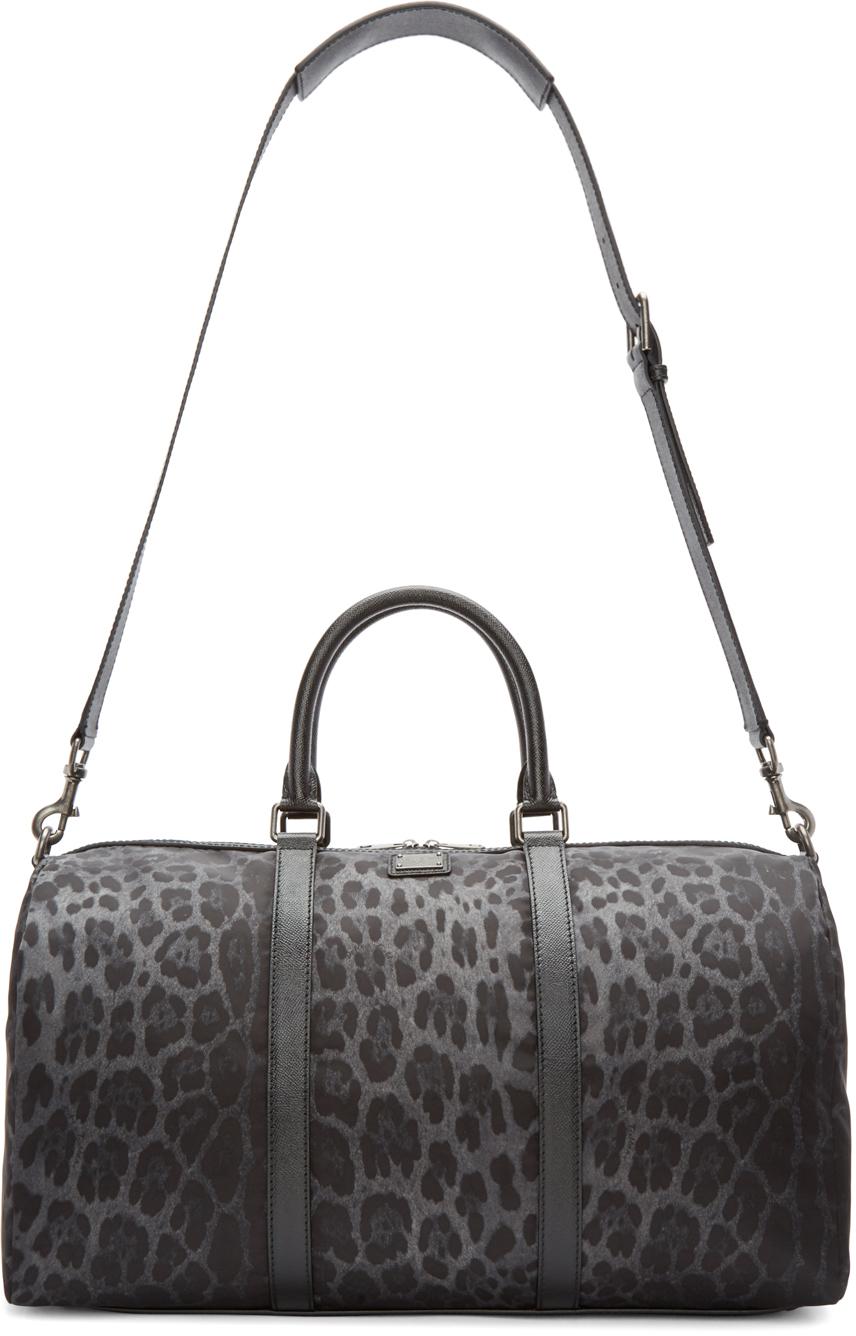 2447c41a2c Lyst - Dolce   Gabbana Grey Nylon Leopard Duffle Bag in Black