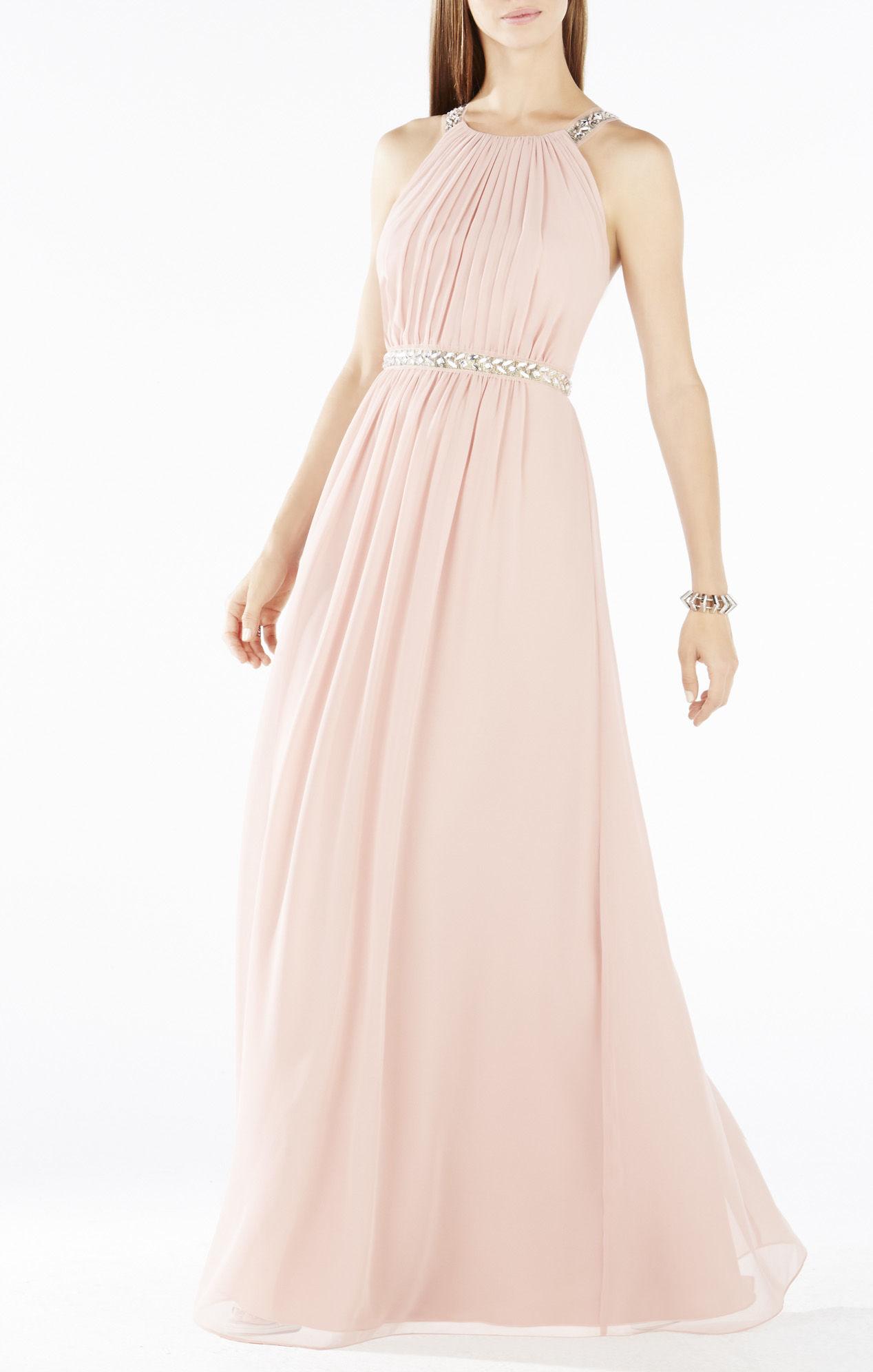 Bcbgmaxazria Celestine Beaded Halter Gown In Pink Lyst
