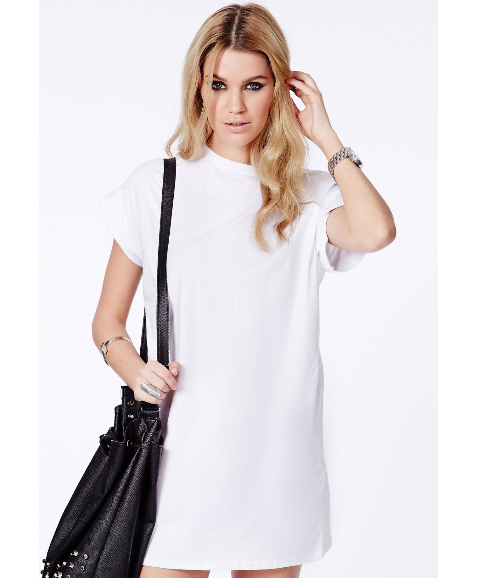 Missguided Davina Oversized T-Shirt Dress In White In White  Lyst-1643