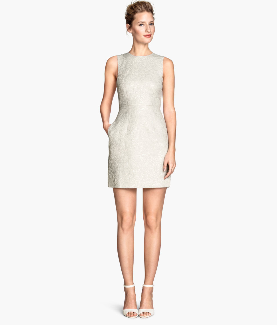 H&m Jacquard-weave Dress in Natural | Lyst