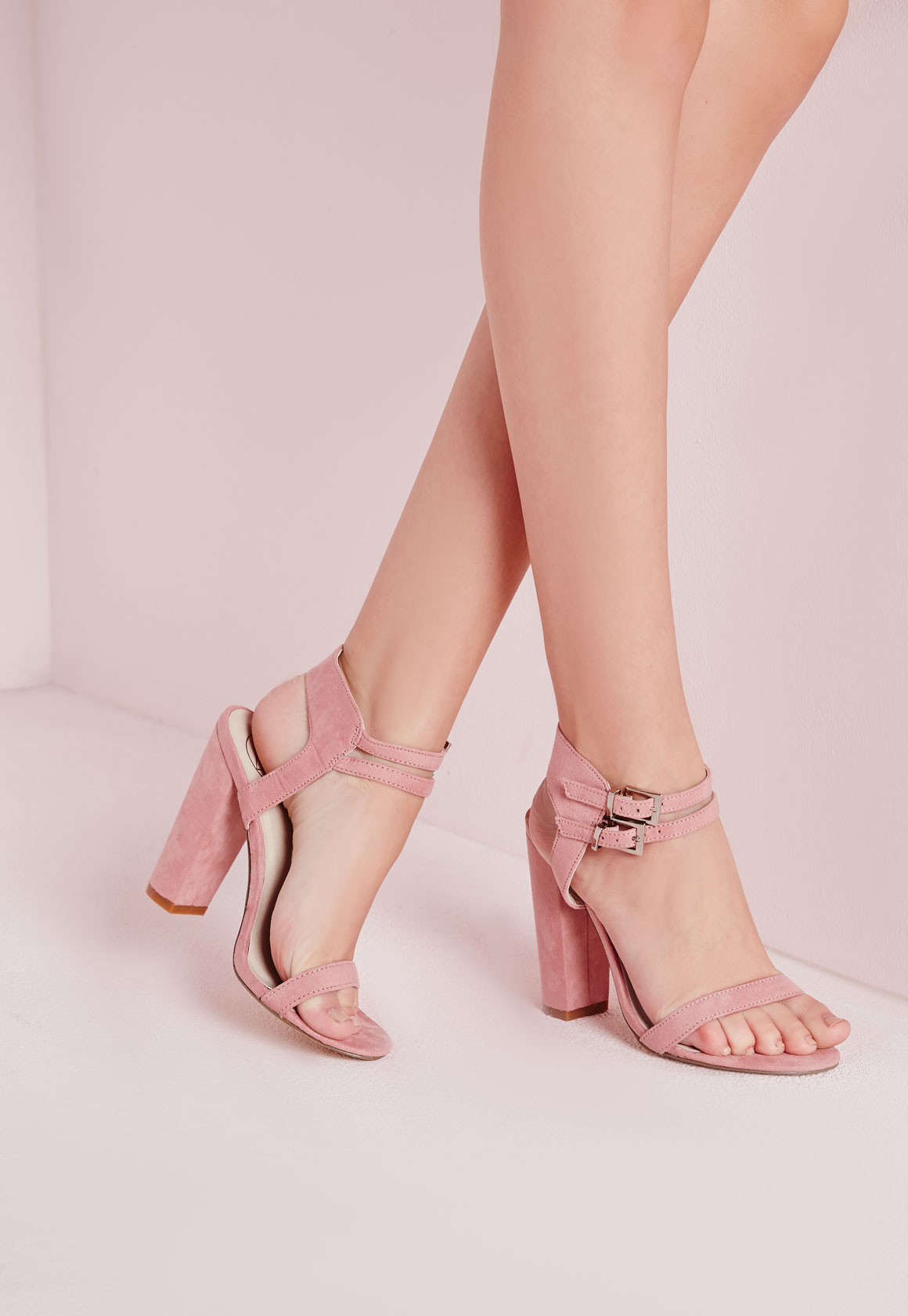 7dc13a529ee Missguided Double Strap Block Heeled Sandals Rose Faux Suede in Pink ...