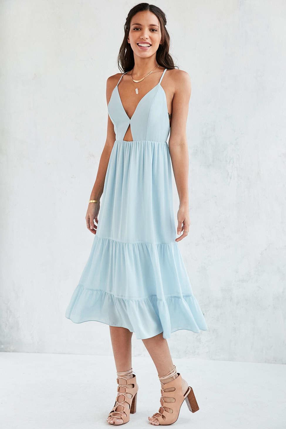 Lyst - Kimchi Blue Tiered Cutout Midi Dress in Blue