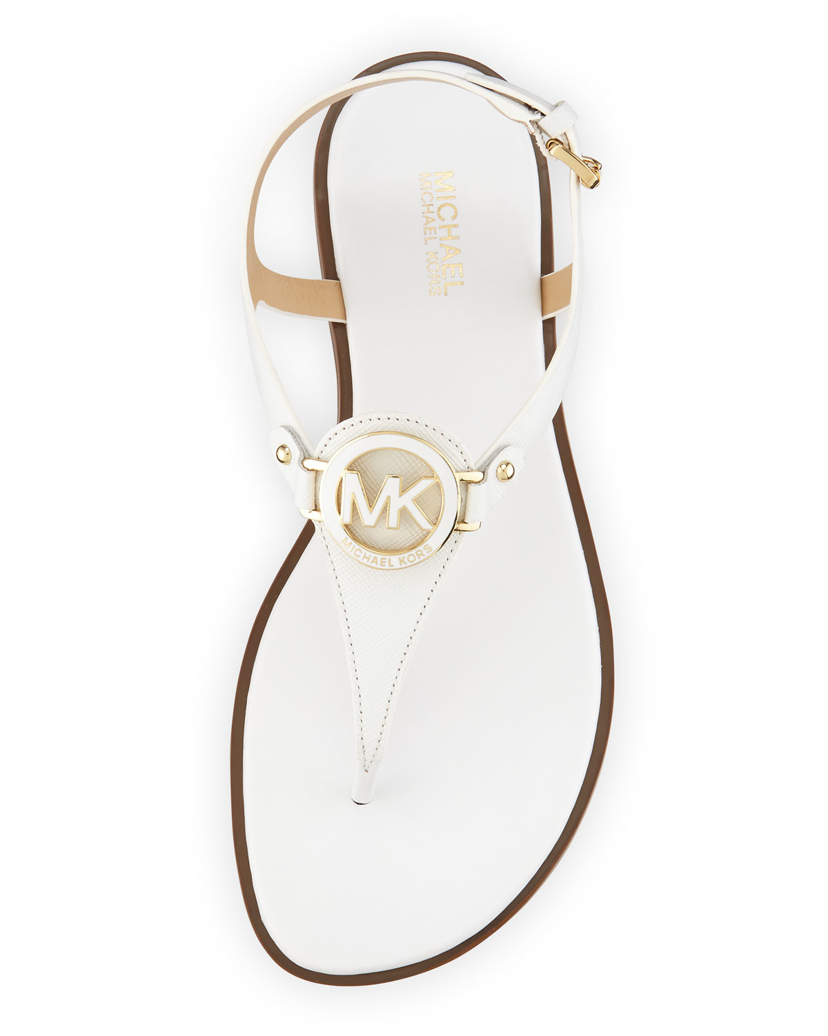 13e41d37061a Lyst - MICHAEL Michael Kors Lee Leather Flat T-strap Sandal in White