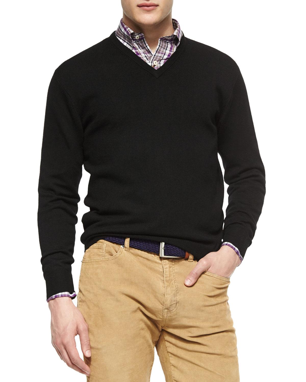 Peter millar Merino Wool V-neck Sweater in Black for Men | Lyst