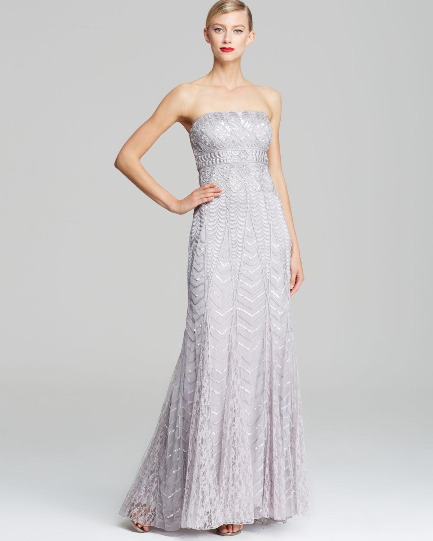 Sue wong Strapless Sequin Gown in Metallic  Lyst