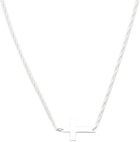 Jennifer Zeuner Mini Horizontal Cross Necklace in Silver (sterling silver)